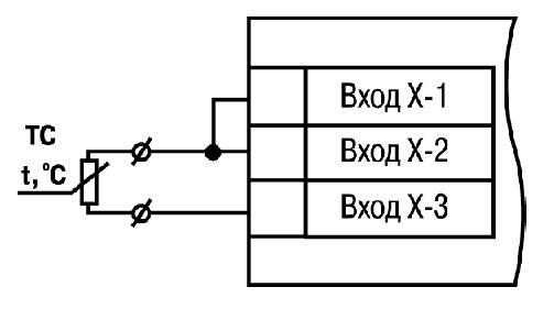 Подключение термопреобразователя сопротивления ТС к измерителю регулятору 2ТРМ1 по двухпроводной схеме